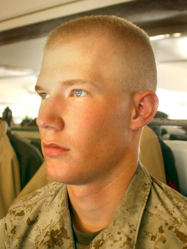 Crewcut young recruit with beautifull cute sweet blue eyes